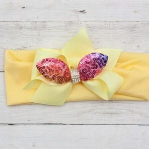NWT! Yellow Sequin Rhinestone Bunny Ears Headband